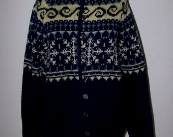 Vintage 50s White Stag Classic Button Cardigan Snowflake Sweater Made In The USA Great Colors