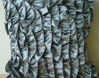 "Luxury Silver Throw Pillows Cover, 16""x16"" Satin Throw Pillows Cover, Square  Vintage Style Ruffles Shabby Chic Pillow Cover- Vintage Silver"