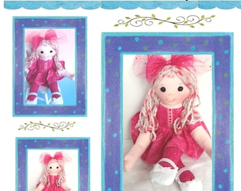 "Easy Cloth Rag Doll PDF Pattern Fuchsia 14"" Doll Pattern- Easy Beginner PDF Sewing Patterns by Peekaboo Porch"