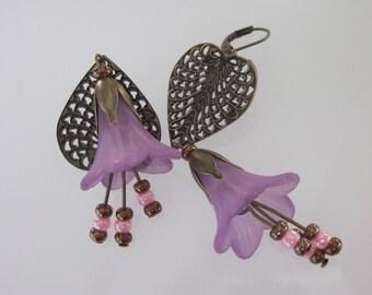 Bohemian Earrings, Flower Jewelry, Lavender Flower, Antiqued Brass Filigree, Long Earrings, Boho Weddings