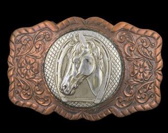 Vintage NOS Horse Head Horseshoe Floral Western Cowgirl Cowboy Belt Buckle