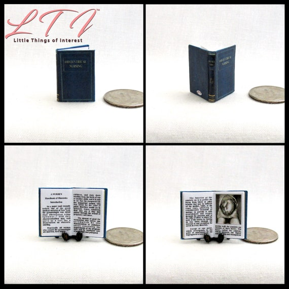 OBSTETRICS NURSING TEXTBOOK Dollhouse Miniature Book 1:12 Scale Readable Book Nurse Doctor Medical Health Medicine Human Body