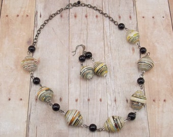 Paper Bead Necklace and Earring Set - Rwandan Paper Beads - Black, Brown, Yellow and White Stripes