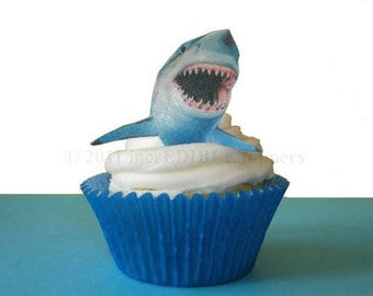 SHARK CAKE TOPPER, Shark Cupcake Topper, Shark Birthday Cake, Shark Birthday Party, Shark Week, Shark Party Decoration, Shark Tooth, Jaws