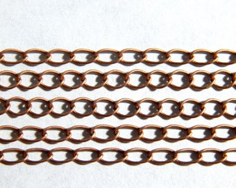 Antique Copper Curb Chain - 5X4mm Soldered Brass Oval Chain - 5 Feet, (INDOC33)
