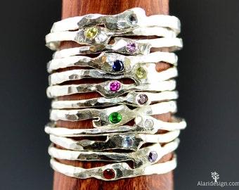 Freeform Silver Ring, Flush Set Stone Ring, Gemstone Ring, Mom Ring, Small Stone Ring, Stacking Ring, Freeform Stone Ring, Mother's Rings