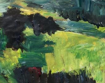 Paysage peinture, de vertes collines et de prés, art expressionniste originale, Russ Potak