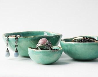 Catchall bowls-Jade Green Jewelry Nesting Bowls (Nidum)