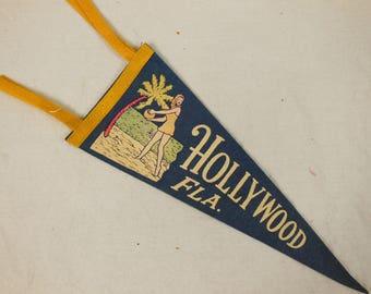 Vintage Felt Souvenir Mid-Size Pennant, Hollywood, Florida