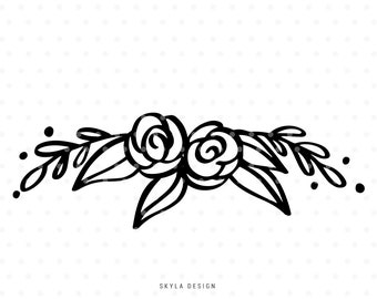 Floral svg cut file, Svg clipart, Flower Svg, Floral clipart, Wreath Svg, Flourish Svg, svg cutfile, svg cut file for cricut, silhouette