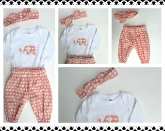 Baby Girls outfit/set, pants applique top and headband Avail in 000, 00 and 1