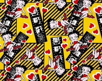 Betty Boop Film Strips on Yellow from Camelot Fabrics