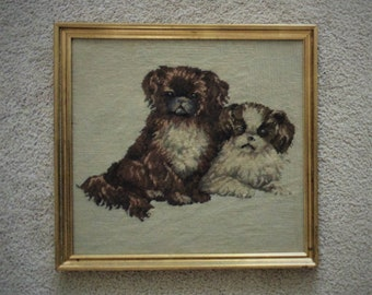 Vintage Portrait of Pekingese Dogs Needlepoint Picture in Gilt Wood Frame