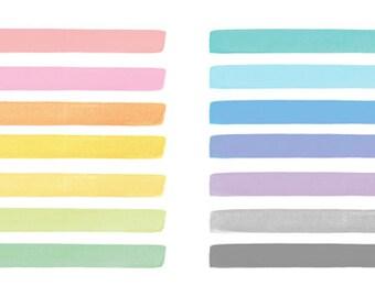 14 Watercolor Cliparts, Stripes Clipart, Watercolor Stripes, Watercolor Elements, Watercolor Brush Strokes, Handpainted Clipart
