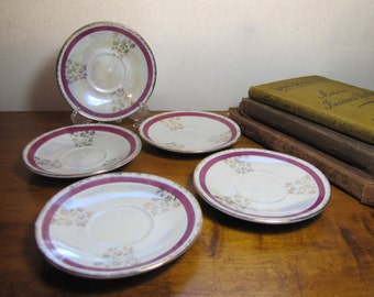 Set of Five (5) Vintage Small Saucers - Red and Gold Lusterware Finish