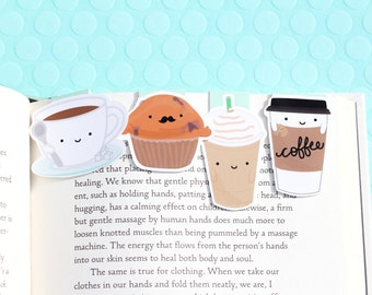 Coffee Set Magnetic Bookmarks (Mini 4 Pack)