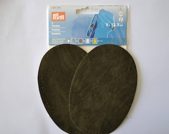 elbow reinforcements imitation dark olive green suede 9x13.5 cm has iron or sewing for repair/customization prym 929336