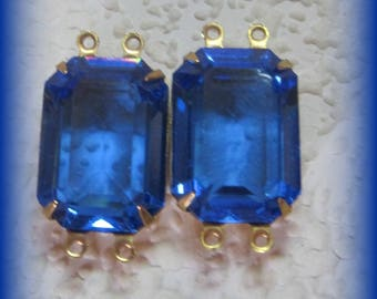 24MM, 4 Rings, Swarovski Crystal, Sapphire, Unfoiled, Rectangle, Octagon, Rhinestone, Brass, OB, Prong, Setting, Connector,