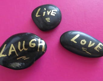 Live Laugh Love stones pebbles River Rocks Bathroom ring dish rocks