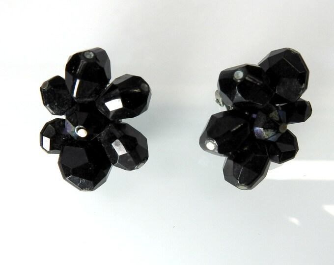 Black clip on earrings for non-pierced ears