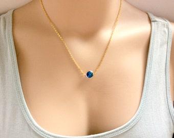 blue necklace, Round Birthstone necklace,December birthstone necklace ,December birthday,turquoise birthstone,Bridesmaids gift, birthstone,