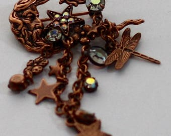 Kirks Folly Moon with Charms Brooch