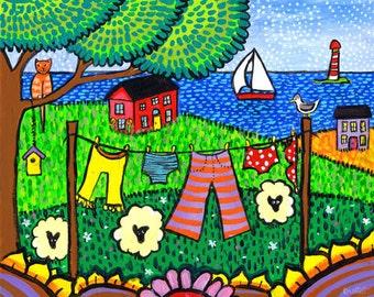 Laundry Folkart Landscape Tabby Cat , print  Shelagh Duffett