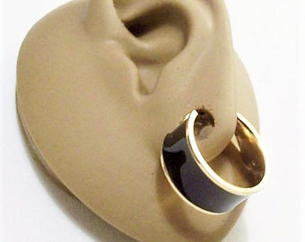 Monet Black Hoops Pierced Post Stud Earrings Gold Tone Wide Enamel Smooth Band Striped Edge Ring Dangles