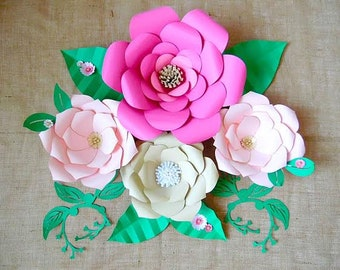 Paper flower Templates, DIY Giant Paper flowers, DIY flower templates, Paper craft tutorial, Paper flower SVG files, Large flowers