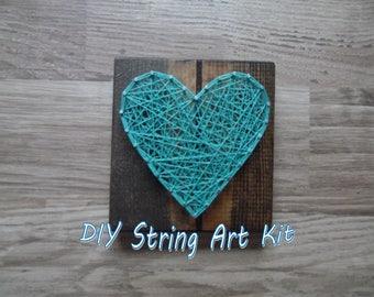 mini heart diy kit, mini kids string art kit, diy string art kit, mini string art kit, heart string art kit, kids diy string art kit, string