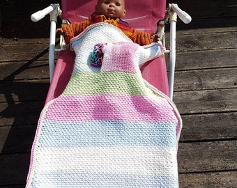 Baby blanket crocheted in soft acrylic and with a pocket for the blanket, soft pastel colors