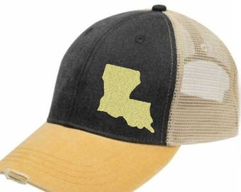 Louisiana Hat - Distressed Snapback Trucker Hat - off-center state pride hat - Pick your colors