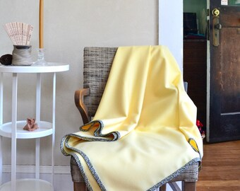 Large Wool Wrap Shawl Scarf or Throw Lightweight Butter Yellow Wool & Liberty Cotton Floral Binding