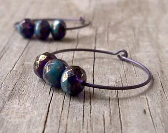 Hoop Earrings - Hypoallergenic Hoop Earrings - Titanium Earrings - Pure Titanium Earrings - Beaded Hoop Earrings - Purple Hoop Earrings