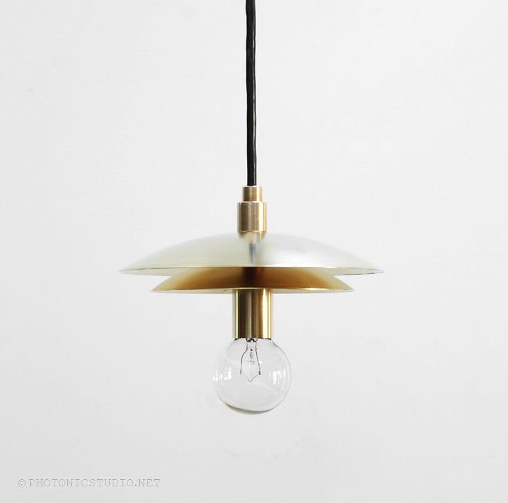 Modern pendant light mid century pendant light brass zoom mozeypictures Images