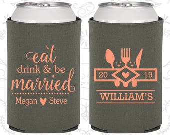 Eat Drink and Be Married, Wedding Party Gifts, Country Wedding Gift, Picnic Wedding Gift, Outdoor Wedding Gift, Wedding Can Coolers (427)