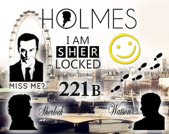 Sherlock Holmes Decals | John Watson | Jim Moriarty | BBC  | 221B | vinyl | sticker | laptop | car | window | sherlocked | detective | crime