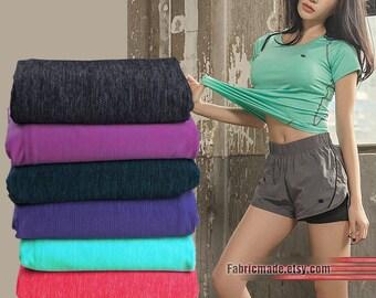 Knit Jersey Fabric High Stretch Quick Drying T-Shirt Sport Sweater Fabric- 1/2 yard