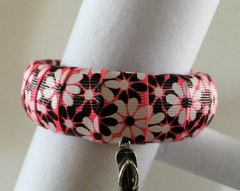 Black White Flowers Bangle Bracelet on Bright Pink Background with FlipFlop Charm, Bangle, Bracelets, Jewelry, Eco Wood