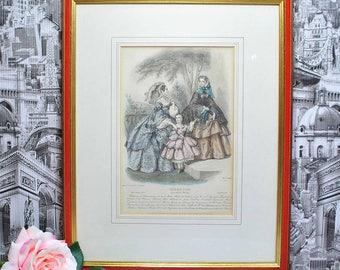 Beautiful Vintage Print.Journal de modes.Le Bon Ton.Mode de Paris, La Mode Illustrée, Hand Colored French Lithographic Print of 1850s