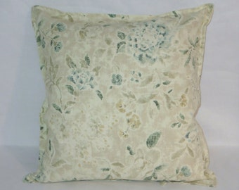 "Ivory Floral Pillow Cover with Ties, Tan Blue Green Nautica Fabric, All Cotton 18"" Square, Ready to Ship"
