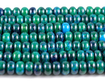 10x6-10x7mm Turquoise Chrysocolla Gemstone Donut Rondelle Loose Beads 16 inch Full Strand (90114169-206)