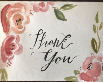 Custom floral water color Thank you Cards