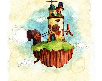 Cutepunk Cloudship Watercolor Print