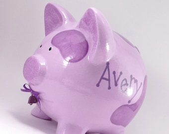 Purple Cow Piggy Bank - Personalized Piggy Bank - Ceramic Cow Bank - Moolah Bank - Cash Cow Bank - Farm Theme Bank - with hole or NO hole