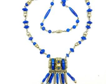 Art Deco Chrome and faux lapis necklace c1920's Flapper Neiger Brothers Egyptian revival Vintage Czech jewellery