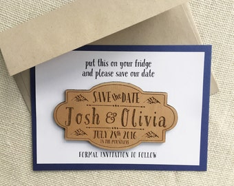Rustic Wooden Save the Date Magnet - Mountain Wedding - Personalized Wood Save the Date - Custom Wedding Magnet - Wedding Announcement