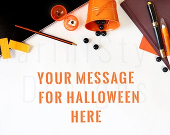 Styled Office Desk Mockup, White Desk, Orange Styled Stock Photography, Halloween Stock Photo, Styled Desktop, Stock image, Stationery, 55