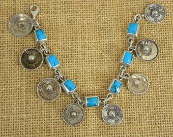 Vintage Sterling Turquoise Charm Bracelet, Southwest, Country, Western, Sombrero, Mexico, Harvey Era