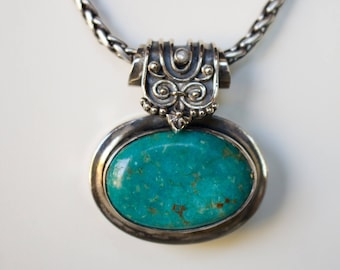 Sterling Silver. Turquoise. Beautiful Sterling Silver with 32x22 MM Genuine Turquoise Pendant.